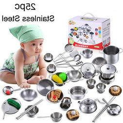 25Pcs/1Set Kids Play House Kitchen Toys Cookware Cooking Ute