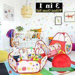 3 in 1 Children Kid Play Tent with Tunnel & Ball Pit Indoor