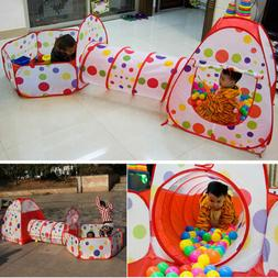 3 In 1 Kids Portable Play House Tent Tunnel Ball Crawl Pool