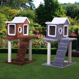 """36"""" H Pet Bed Cat Tree Play House fluffy Condo w/Scratching"""