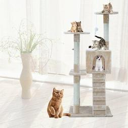 """47"""" Pet Cat Tree Play House fluffy Condo w/ Scratching Posts"""