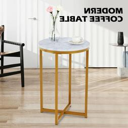 Modern White Marble Coffee Table Gold Metal Frame Living Roo