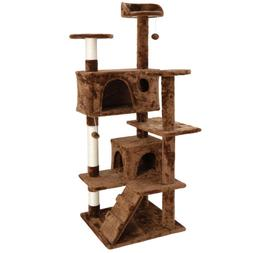 """53"""" Brown Large Cat Tree Activity Scatch Tower Play House Pl"""