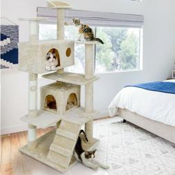 """53"""" Comfort Cat Tree Tower Fun Playhouse For Kittens Cat W/S"""