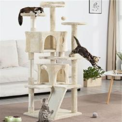 """54"""" Cat Tree Condo Pet Furniture Activity Tower Play House w"""
