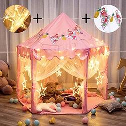 "Twinkle Star 55""x 53"" Princess Castle Play Tent Girls Pl"