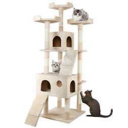 "73"" Cat Tree Condo Furniture Scratch Post Pet Play House Hom"