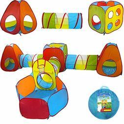 Playz 7pc Kids Playhouse Pop Up Play Tent Crawl Tunnel Ball