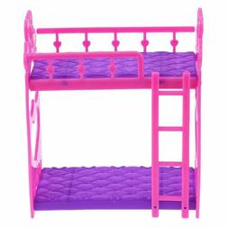 7pcs/Set Cute Hot Pink Dolls House Plastic Bunk Bed Play Hou