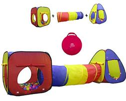 Kiddey 3pc Kids Play Tent Crawl Tunnel and Ball Pit Set –