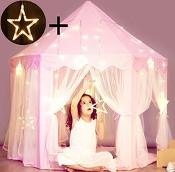 Princess Castle Tent with Large Star Lights String, Durable