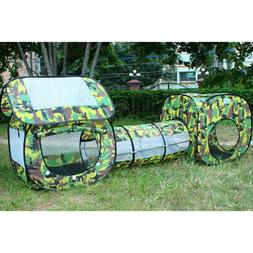 Army Tent Playhouse Activity Cube With Tunnel Kids Toy Game