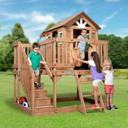 Backyard All Cedar Wood Playhouse W/Play kitchen,2 toy Boxes