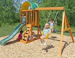 Backyard Swing Set Cedar Wooden Outdoor Playground Playset K