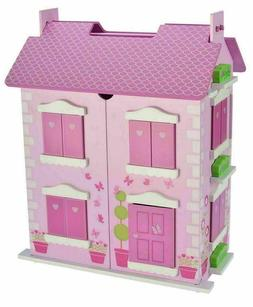 Bubbadoo Barbie Size Wooden Pastel Dollhouse Doll Playhouse