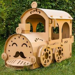 Cardboard locomotive. Train play house. Cardboard train play