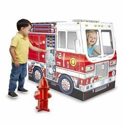 Cardboard Playhouse For Boys Girls Kids Fire Truck Indoor Co