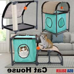 Cat Climbing Nest Scratcher Play House with Scratching Pad &