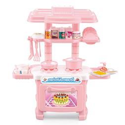 Children's Mini Simulation Kitchen Cooking Table Set Girl Pl