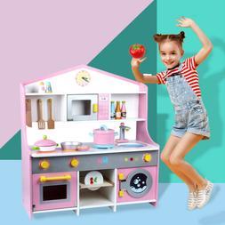Children's Simulation Wooden Kitchen Cooking Set Play House
