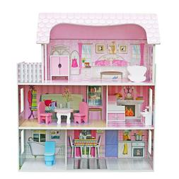 Children Wooden Doll House Playhouse Dream Girls Play Wooden