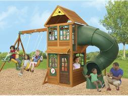 KidKraft Cloverdale Wooden Playhouse Twist n' Ride Tube Slid
