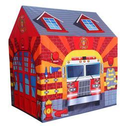 Fire Station Play Tent Kids Pretend Super Hero Playhouse Chi