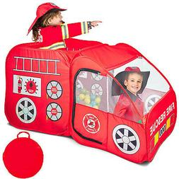 Fire Engine Truck Pop Up Play Tent Foldable Indoor/Outdoor P