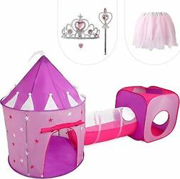 Gift for Girls, Princess Tent with Tunnel, Kids Castle Playh