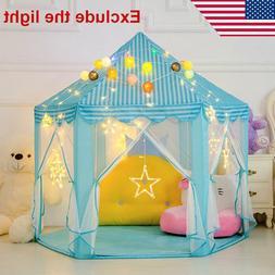 Girls Blue Princess Castle Cute Playhouse Children Kids Play