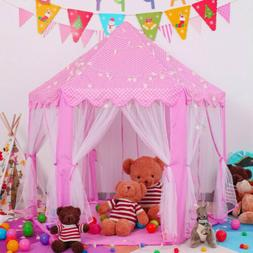 Girls Pink Princess Castle Cute Playhouse Children Play Tent