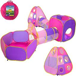 Playz 5pc Children's Playhouse Popup Tents, Tunnels, and Bas