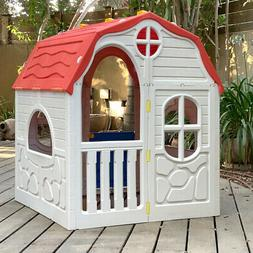 Kids Cottage Playhouse Foldable Portable Plastic Play House