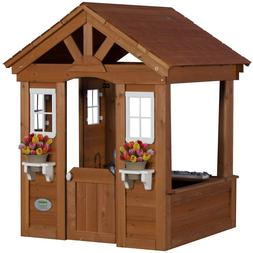 Kids Outdoor Playhouse Cowboy Wooden Toy Structure Fort Back
