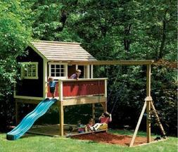 Kids Playhouse Swing Set Detailed woodworking plans  in PDF