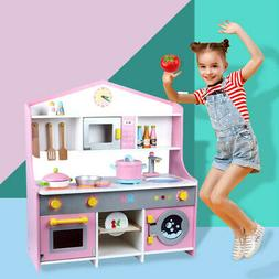 Kids Simulation Wooden Kitchen Cooking Set Play House Parent
