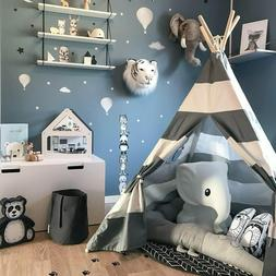 Kids Teepee Play Tent - 100% Cotton Canvas Grey Stripe Child
