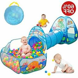 Kids Tent with Tunnel, Ball Pit Play House for Boys Girls, B