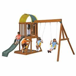 Kids Wood Swing Set Play Area With Slide & Sandbox Climbing