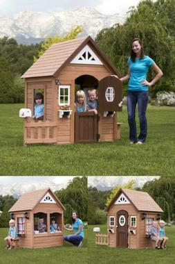 kids wooden cedar playhouse summer cottage play