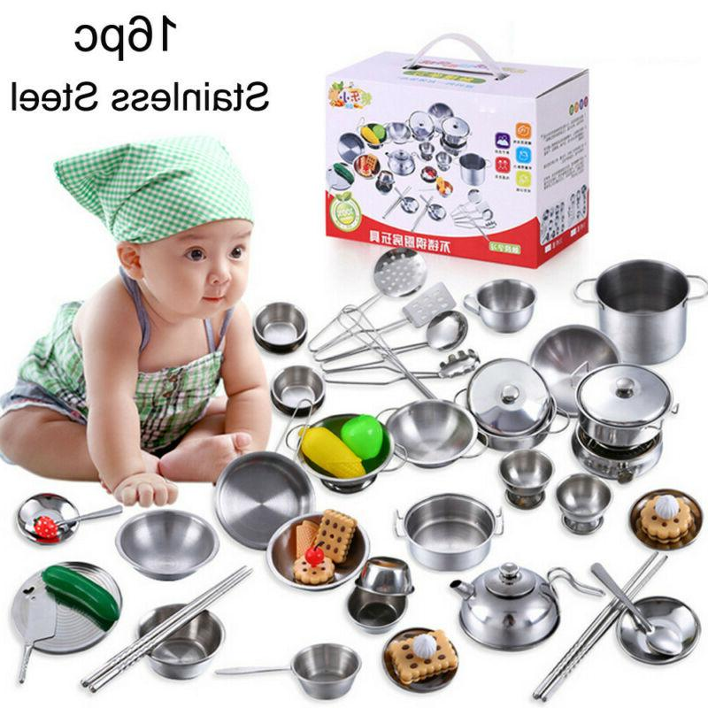 16 Set Play Cookware Cooking Pans Gift