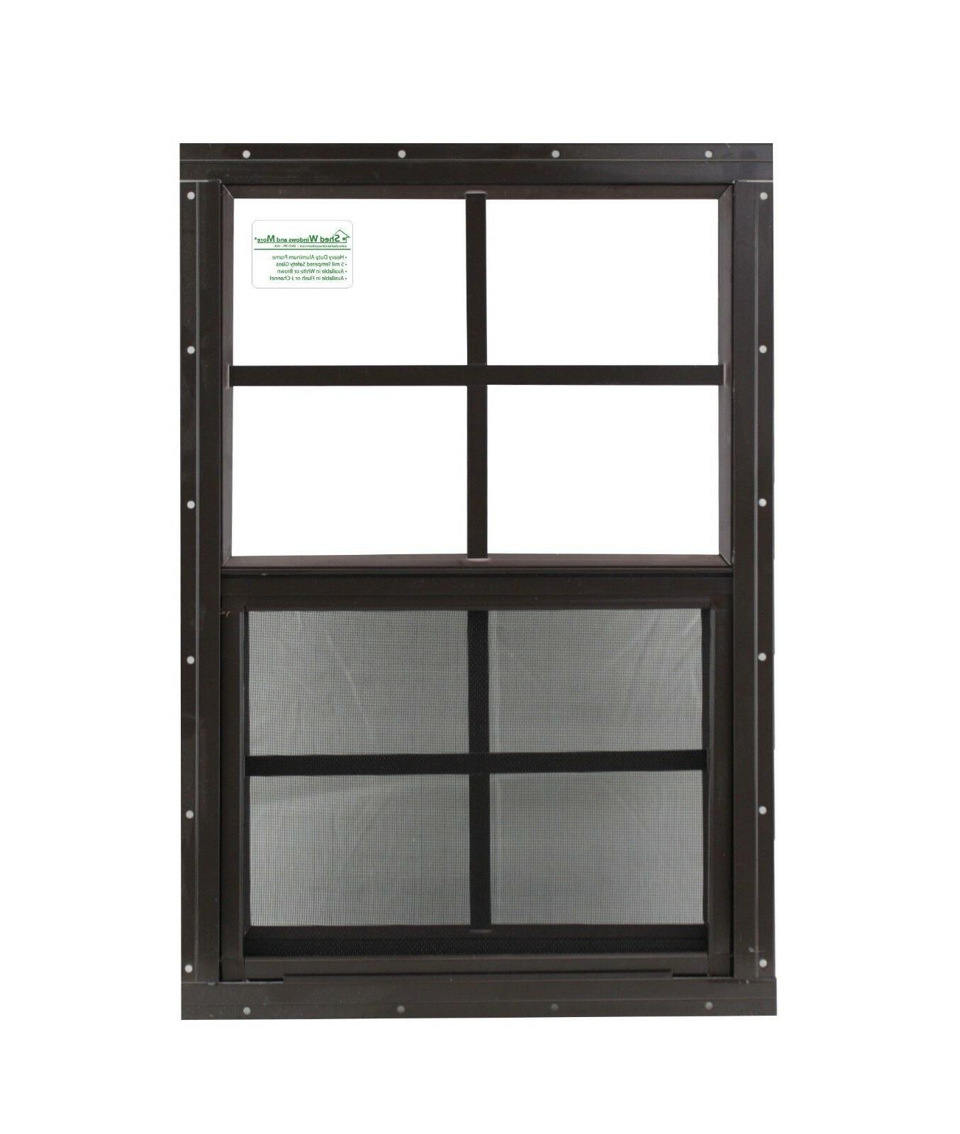 18 x 27 Shed Window SAFETY / TEMPERED GLASS Brown Flush Play