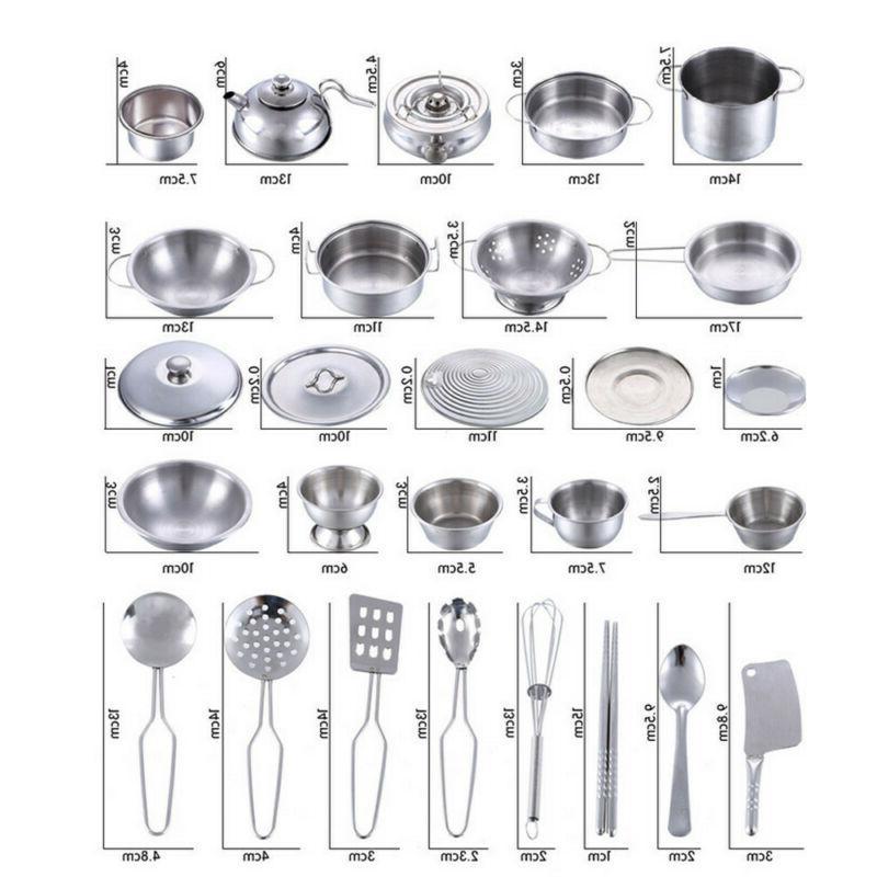 25Pcs/1Set Kids Play Kitchen Cookware Cooking Utensils