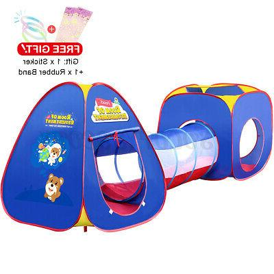 3 In Large Folding Toddler Tent Crawl Playhouse Outdoor
