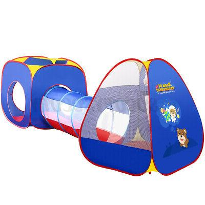 3 Folding Toddler Kid Tent Crawl Tunnel Playhouse