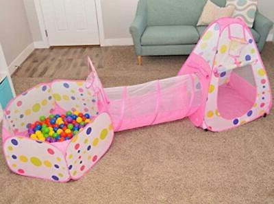 Playz Tent Crawl Tunnel and Ball Pit Up Playhouse Tent with