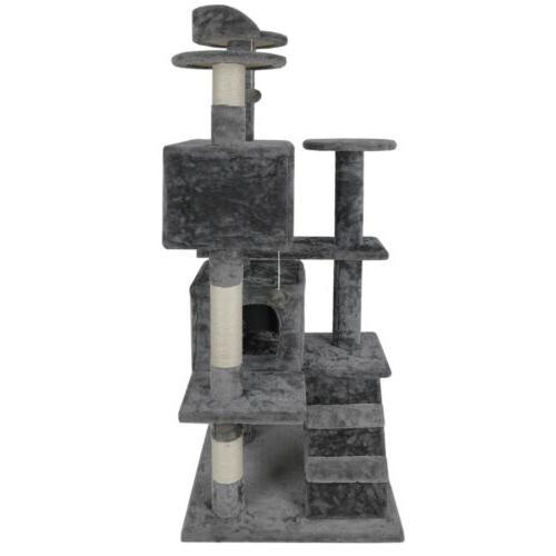 "53"" Cat Tree Condo Playhouse Cave Ladders"