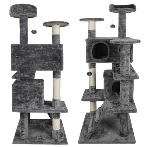 "53"" Cat Tree Condo Kitten Activity Playhouse Cave Ladders"