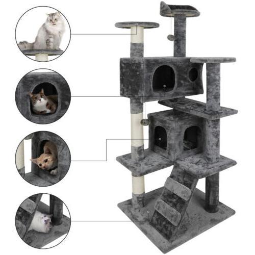 "53"" Cat Tree Scratching Condo Kitten Activity Tower Playhous"
