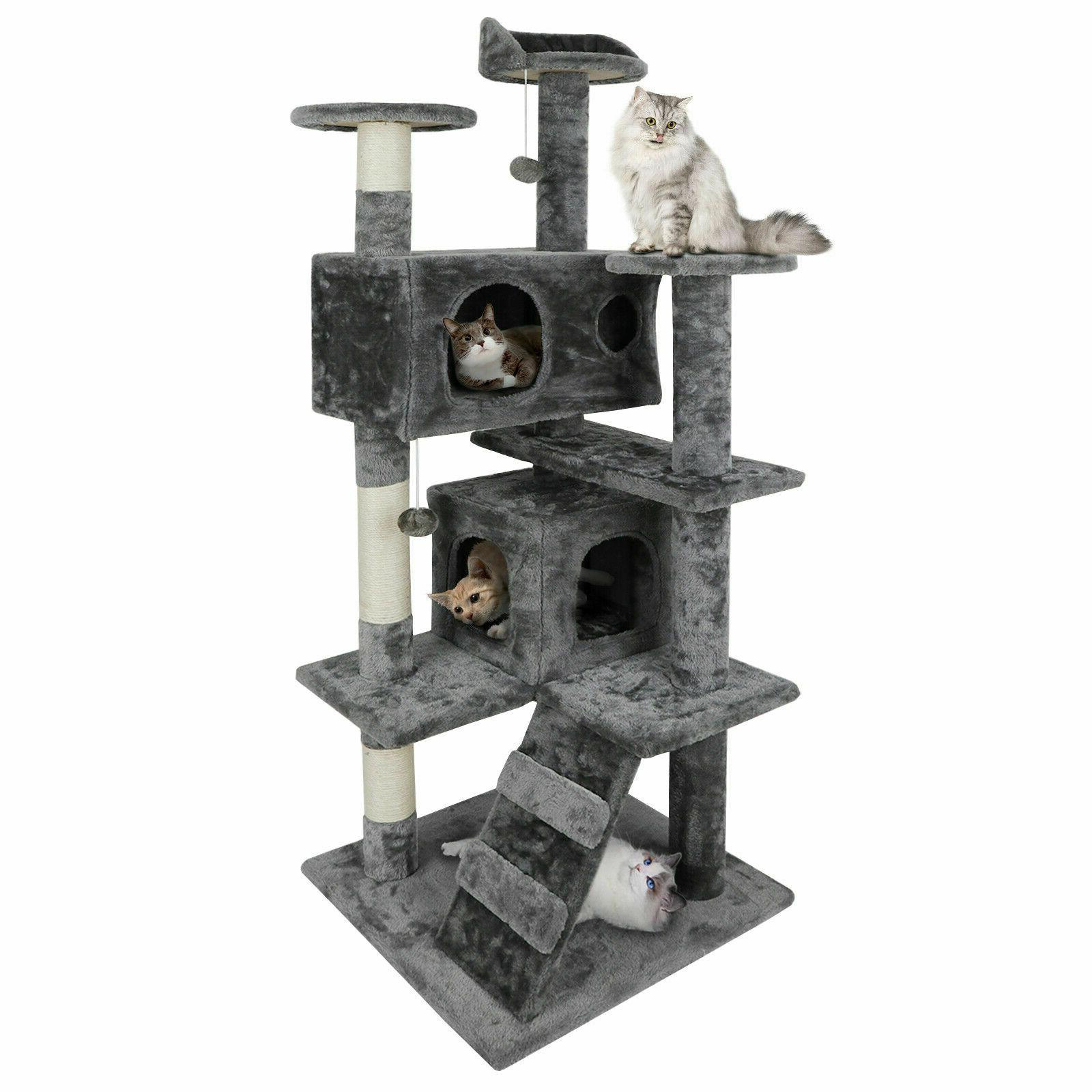 "53"" Cat Tree Condo Activity Playhouse Ladders"